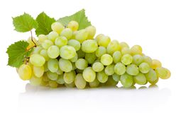 Fresh bunch of green grapes with leaves isolated on white background. Fresh bunch of green grapes with leaves isolated on a white background royalty free stock photos