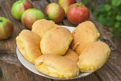 Fresh buns with apple Royalty Free Stock Image