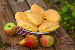 Fresh buns with apple Stock Photo