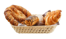 Fresh buns are in a basket.  stock photo