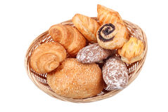 Fresh buns in basket isolated Stock Photography