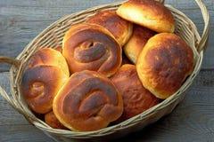 Fresh buns in basket. Sweet, fresh buns in basket royalty free stock image