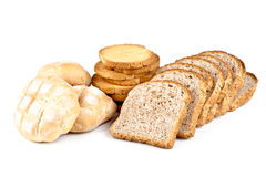 Fresh Buns, Crackers And Sliced Bread Royalty Free Stock Image