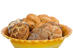 Fresh buns and pastries in a bowl Stock Image
