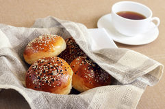 Fresh buns with sesame Stock Photography