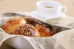 Fresh buns with sesame Royalty Free Stock Images