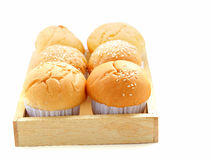 Fresh buns on a wooden tray isolated Stock Images
