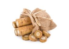 Fresh burdock root or Gobo in sack on white background royalty free stock photos