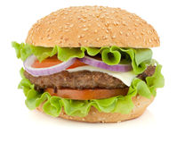 Fresh burger with beef, cheese, onion and tomatoes Royalty Free Stock Images