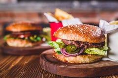 Fresh burger closeup. Royalty Free Stock Images