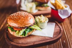 Fresh burger closeup. Royalty Free Stock Image