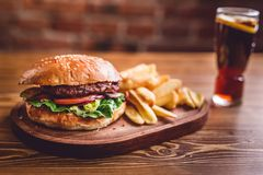 Fresh burger closeup. Royalty Free Stock Photography