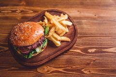 Fresh burger closeup. Stock Image