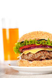 Fresh burger fast lunch meal Royalty Free Stock Photos