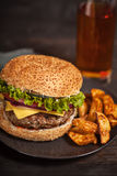 Fresh burger fast lunch  meal Stock Photos
