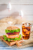 Fresh burger with fish made by fisherman Stock Photography