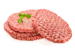 Fresh Burger Patties. Raw on a white underground Stock Photo