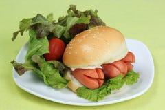 Fresh Burger with sausage Stock Image