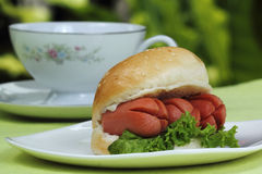 Fresh Burger with sausage Stock Photography