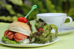 Fresh Burger with sausage Royalty Free Stock Photos