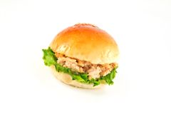 Fresh burger with tuna Royalty Free Stock Photos