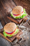 Fresh burger with vegetables and fried egg Stock Photos