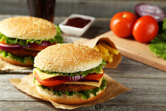 Fresh burgers Stock Photography