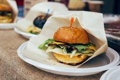 Fresh burgers on market shelf stock photos