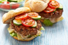 Fresh burgers. Two fresh burgers with tomato and cucumber stock photography