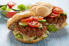 Fresh burgers. Two fresh burgers with tomato and cucumber stock image