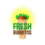 Fresh burrito logo. Snack bar signboard. Mexican food Royalty Free Stock Photography