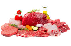 Fresh butcher cut meat assortment garnished stock photography