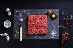 Fresh butcher cut meat minced, garnished, served with cooking in. Gredients. Above view Royalty Free Stock Photos