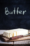 Fresh butter and blackboard Royalty Free Stock Image