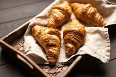 Fresh butter croissants. Fresh crispy French butter croissants stock photo