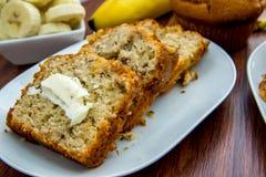 Fresh buttered banana walnut bread Stock Photography