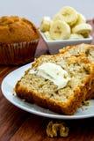 Fresh buttered banana walnut bread Stock Images