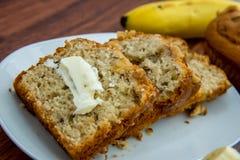 Fresh buttered banana walnut bread Royalty Free Stock Photos