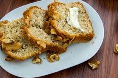 Fresh buttered banana walnut bread Stock Image