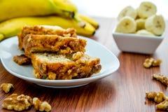 Fresh buttered banana walnut bread Royalty Free Stock Photo