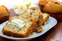 Fresh buttered banana walnut bread Royalty Free Stock Images