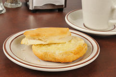 Fresh buttered biscuit. Fresh baked buttermilk biscuit with butter Stock Images