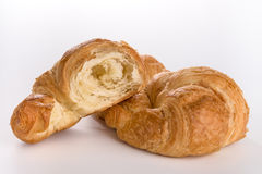 Fresh buttery  croissants. With white background Royalty Free Stock Images