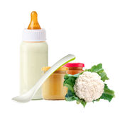 Fresh cabbage, baby food, spoon and and milk bottle isolated Stock Photography