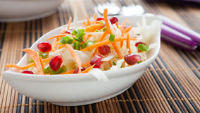 Fresh cabbage-carrot salad in a white bowl Stock Images