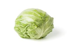 Fresh cabbage head isolated on white Stock Photos