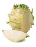 Fresh cabbage kohlrabi isolated on white background closeup Royalty Free Stock Photo