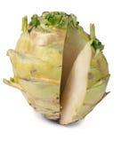 Fresh cabbage kohlrabi isolated on white background closeup Stock Photo