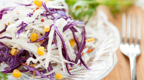 Fresh cabbage salad and of canned corn Stock Photography