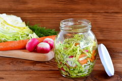Fresh cabbage salad with carrot and radishes. Healthy vegetable salad. Salad in a glass jar. Vegetable diet food. Cabbage, radishes, carrots, dill - organic Stock Photo
